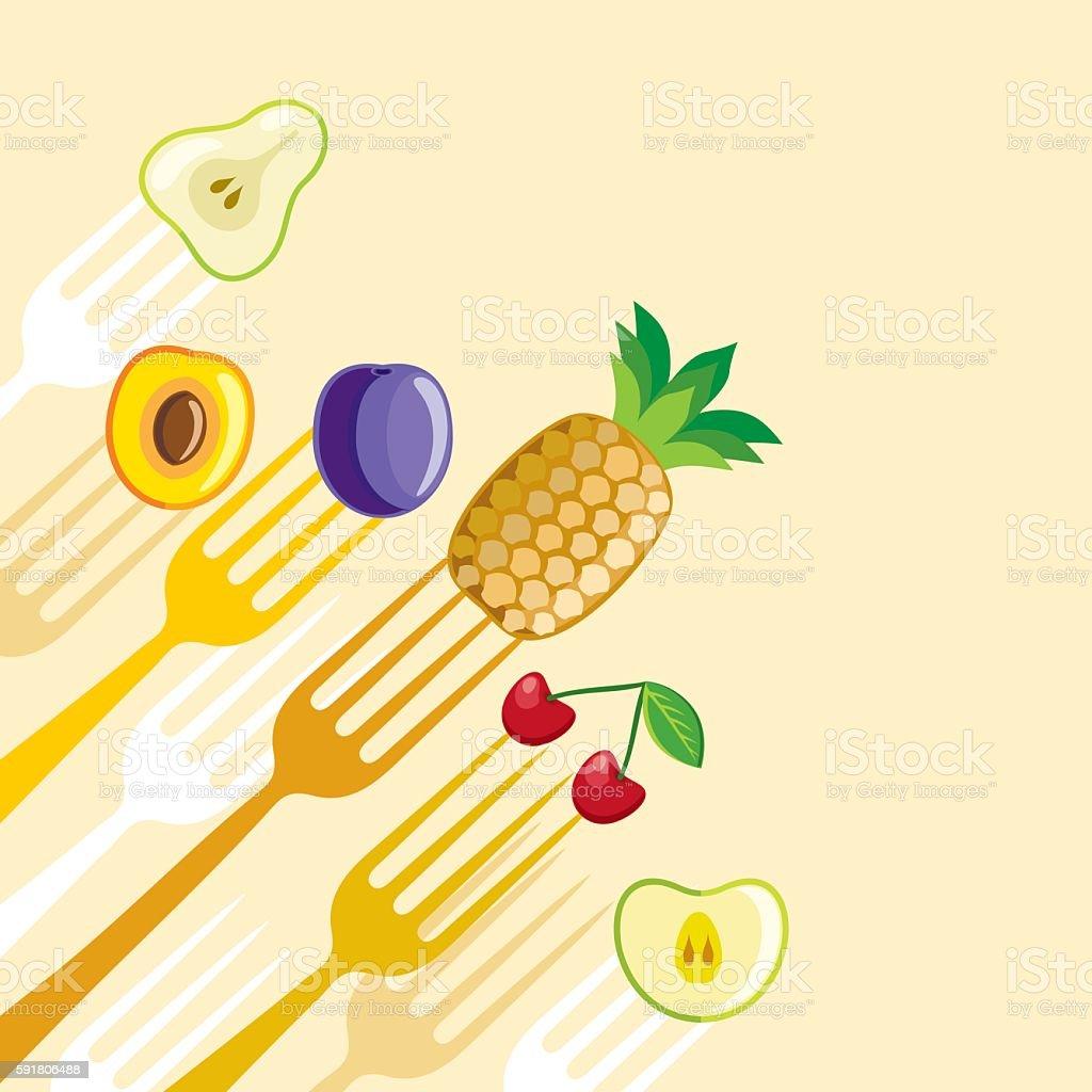 Fruit menu vector art illustration