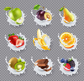 Set of realistic milk splashes with fruits including berries and chocolate isolated on transparent background vector illustration