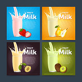 Banners of fruit milkshake dessert cocktail glass fresh drink in cartoon vector illustration
