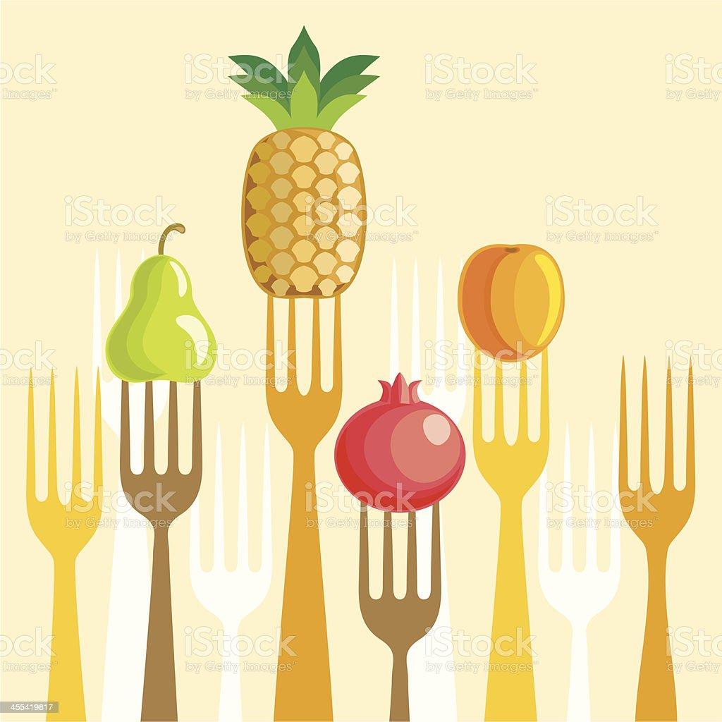 Fruit on forks royalty-free stock vector art