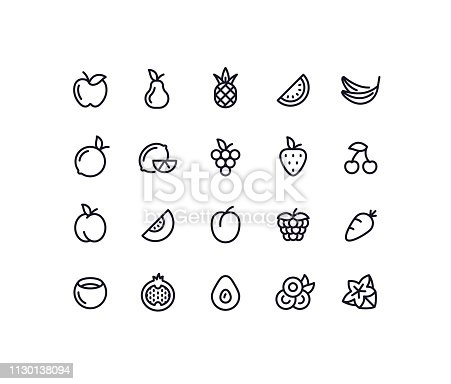 Set of fruit outline vector icons.