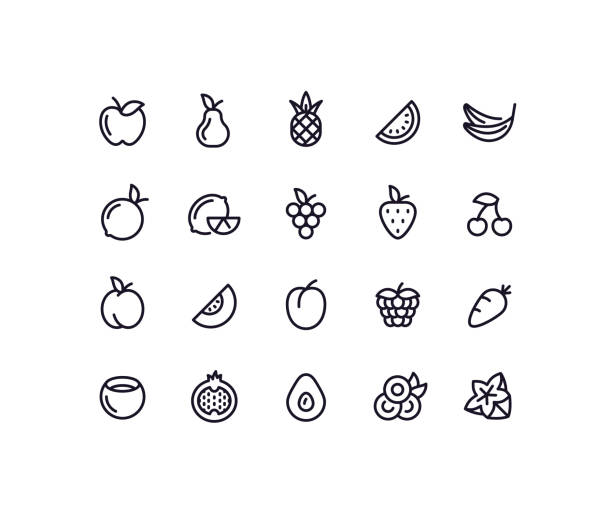illustrazioni stock, clip art, cartoni animati e icone di tendenza di fruit outline icons - fragole