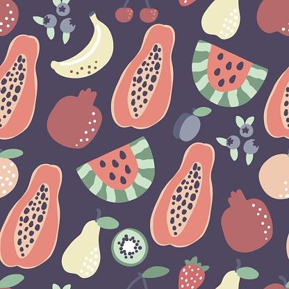 Fruit pattern. Papaya banana watermelon seamless pattern. Vector summer tropical print for t shirt design