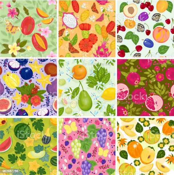 フルーツ パターン シームレスなベクトル フルーティーな背景とスイカ リンゴとトロピカル フルーツの新鮮なスライスと実りあるエキゾチックな壁紙の背景の イラスト セット かんきつ類のベクターアート素材や画像を多数ご用意 Istock