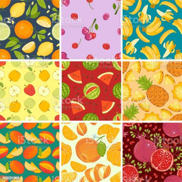 フルーツ パターンのシームレスなベクトルのフルーティーな背景とスイカ オレンジ リンゴとトロピカル フルーツ イラスト 背景の新鮮なスライスと実りあるエキゾチックな壁紙設定 かんきつ類のベクターアート素材や画像を多数ご用意 Istock