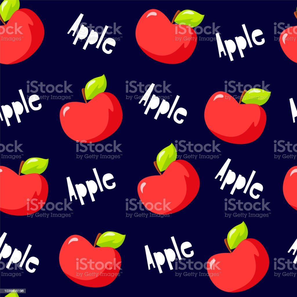 Fruit Pattern With Red Apples And Text On Black Background Vector