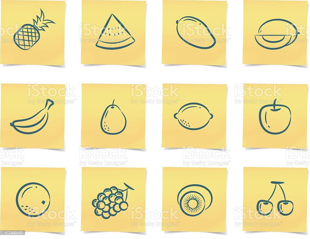fruit post-it notes royalty-free stock vector art