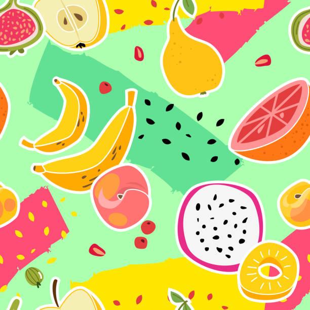 illustrazioni stock, clip art, cartoni animati e icone di tendenza di fruit print. fruits seamless pattern fresh food nature vitamin healthy eating colorful summer texture trendy cartoon vector background - pesche bambino