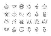 Fruit - Regular Line Icons - Vector EPS 10 File, Pixel Perfect 24 Icons.