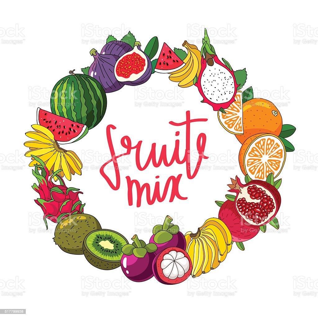 Fruit round frame. Calligraphy Fruit Mix. vector art illustration