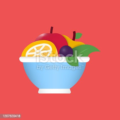 istock Fruit Salad Flat Icon. Flat Vector Illustration Symbol Design Element 1207520418