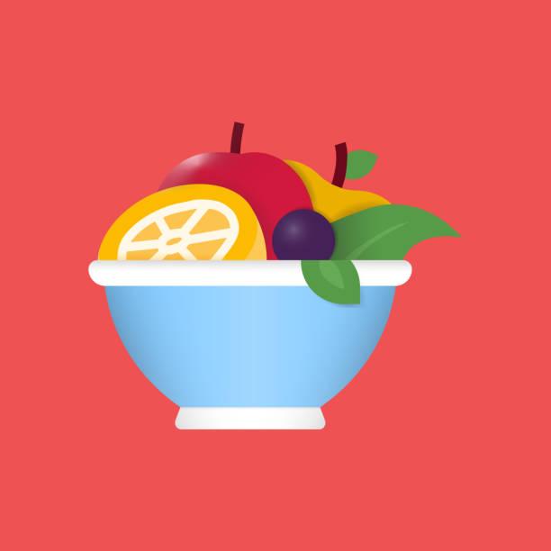 ilustrações, clipart, desenhos animados e ícones de ícone plano de salada de frutas. elemento de design do símbolo de ilustração do vetor plano - fruit salad