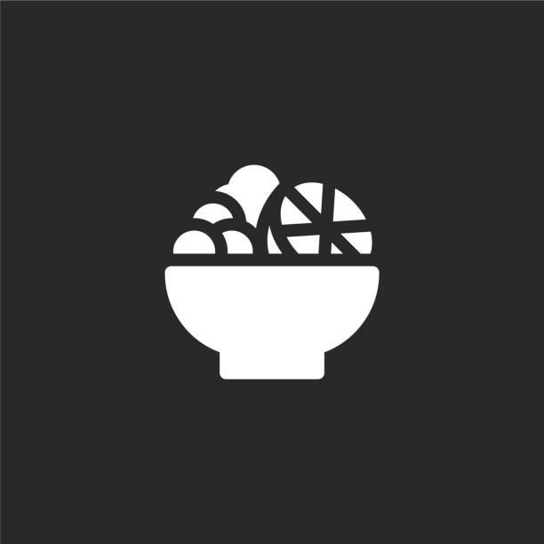 ilustrações, clipart, desenhos animados e ícones de ícone da salada de fruta. ícone enchido da salada de fruta para o projeto do web site e móvel, desenvolvimento do app. ícone da salada de fruta da coleção enchida do alimento e da bebida do verão isolada no fundo preto. - fruit salad