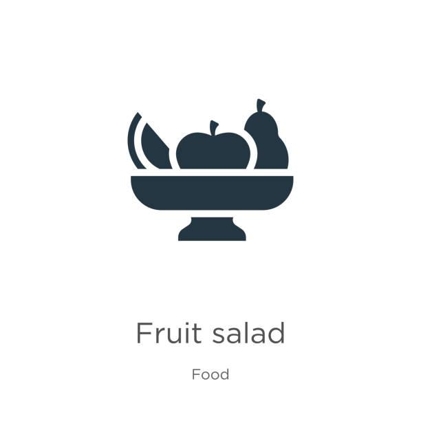 ilustrações, clipart, desenhos animados e ícones de vetor do ícone da salada de fruta. ícone liso na moda da salada de fruta da coleção do alimento isolada no fundo branco. a ilustração do vetor pode ser usada para o projeto gráfico do web e do móvel, logotipo, eps10 - fruit salad