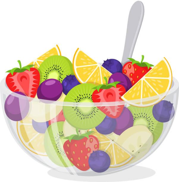 ilustrações, clipart, desenhos animados e ícones de salada de frutas com tigela de vidro. - fruit salad