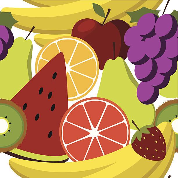 ilustrações, clipart, desenhos animados e ícones de salada de frutas seamess padrão - fruit salad