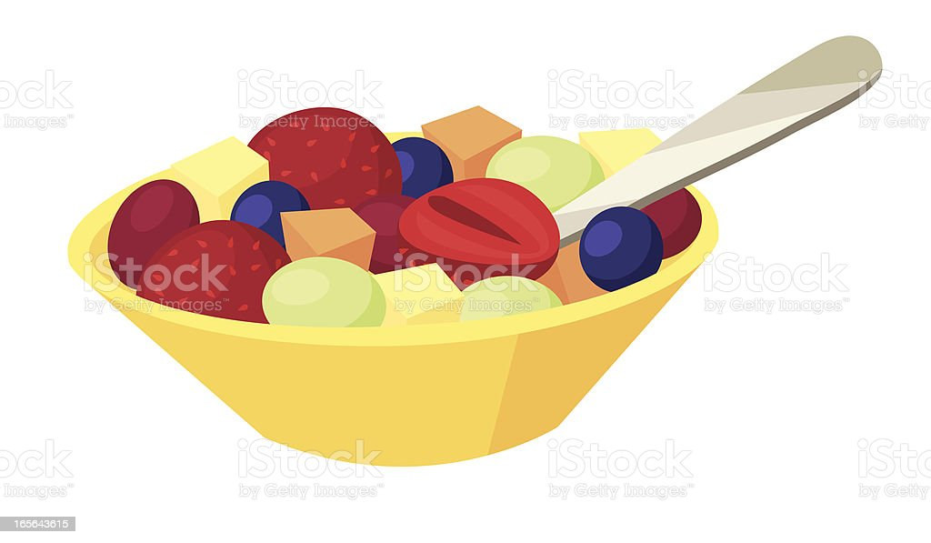 Fruit Salad Fruit salad in a yellow bowl. Each fruit piece, the spoon, and the bowl are on separate layers for easy editing in your vector program. Berry Fruit stock vector