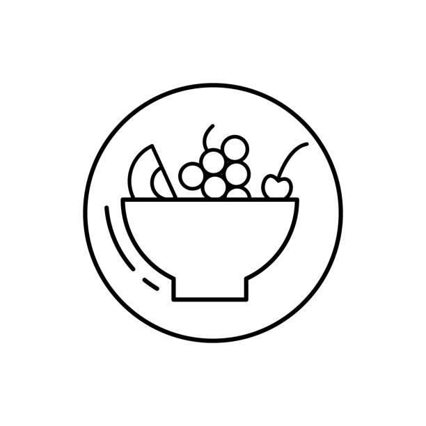 ilustrações, clipart, desenhos animados e ícones de salada de frutas, ícone vegano. linha simples, delineie elementos vetoriais de ícones vegetarianos para ui e ux, site ou aplicativo móvel - fruit salad