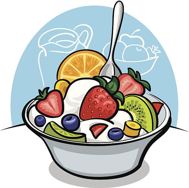 ilustrações, clipart, desenhos animados e ícones de salada de frutas com iogurte e morango - fruit salad