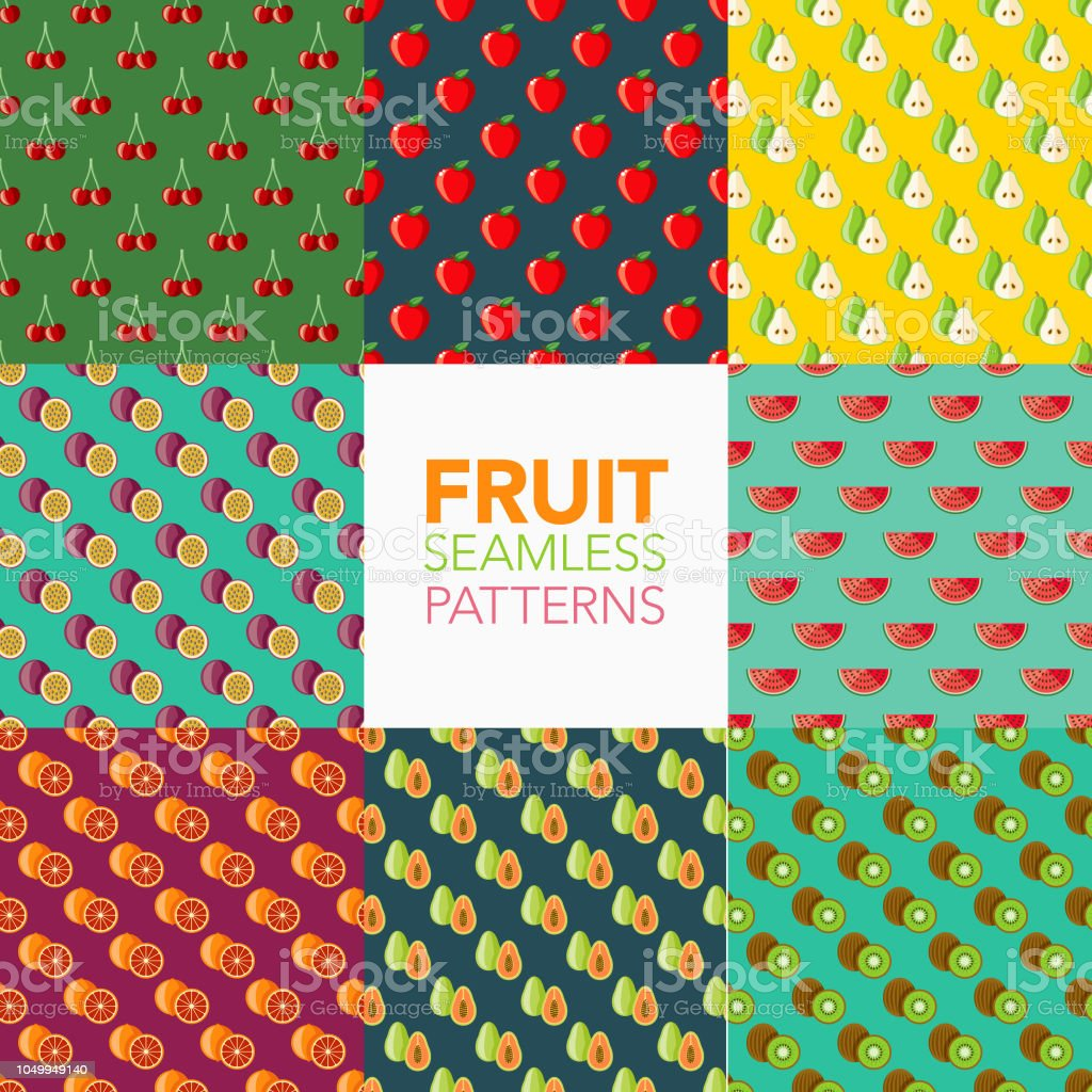 Fruit Seamless Pattern Set vector art illustration