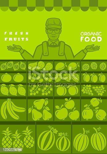 istock Fruit seller. Local stall market. 1220229786