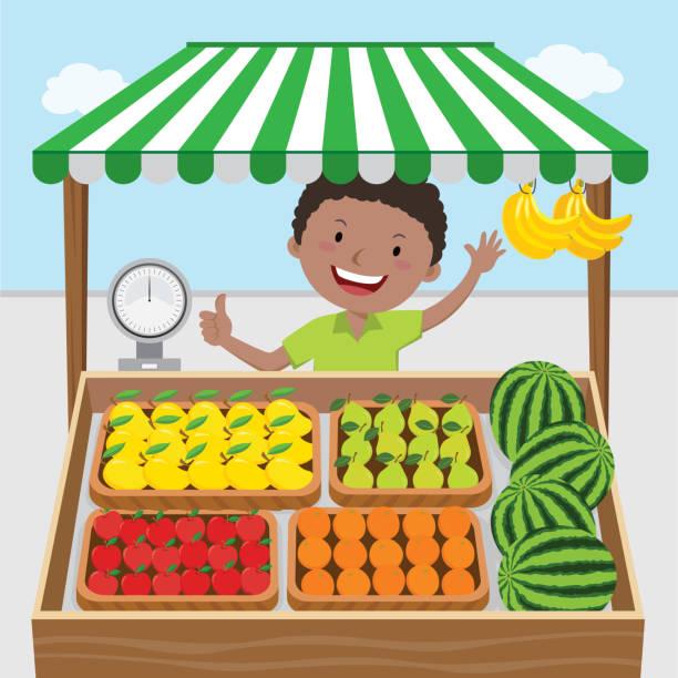Fruit seller Vector illustration of fruit seller. grocer stock illustrations