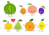 Set of different cute happy fruit characters. Vector flat illustration isolated on white background