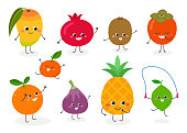 Set of various cute cartoon tropical fruits. Vector flat illustration isolated on white background