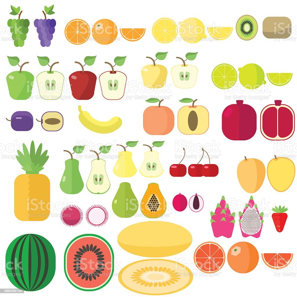 Fruit set is different, bright , flat vector art illustration