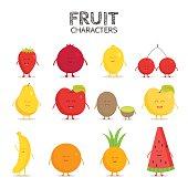 Fruit set. Strawberry, pomegranate, lemon, cherry, pear, apple, kiwi banana pineapple orange watermelon Vector cartoon Friends forever Comic characters