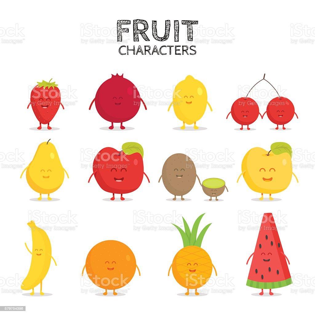 Fruit set. Strawberry, pomegranate, lemon, cherry, pear, apple, kiwi, banana, vector art illustration