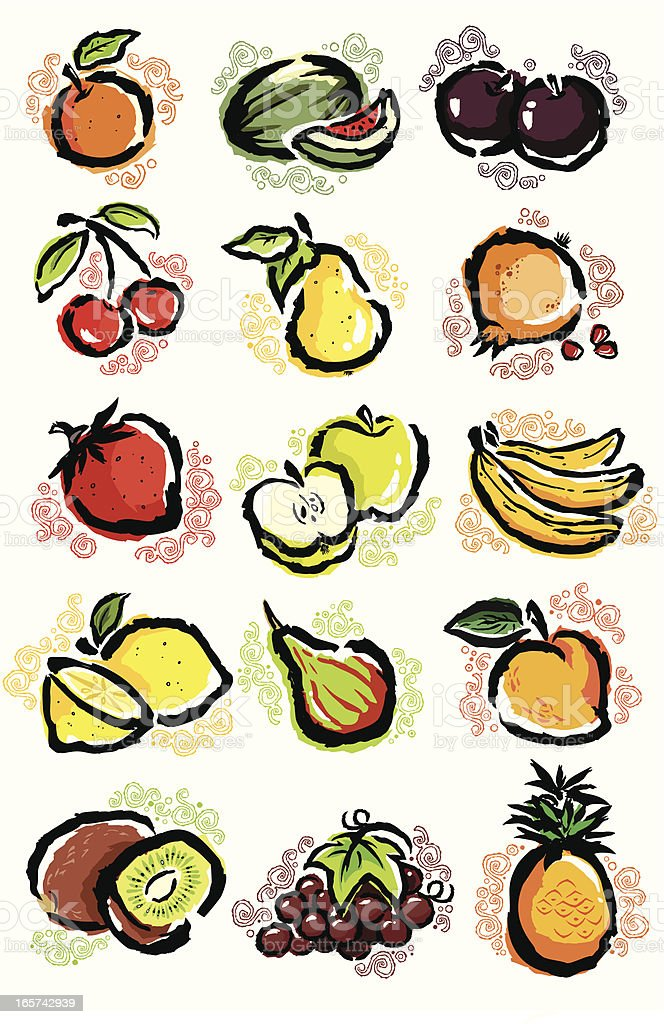 Fruit set royalty-free fruit set stock vector art & more images of agriculture
