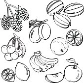 A set of sketching of fruits isolated on a white background. It contains hi-res JPG, PDF and Illustrator 9 files.