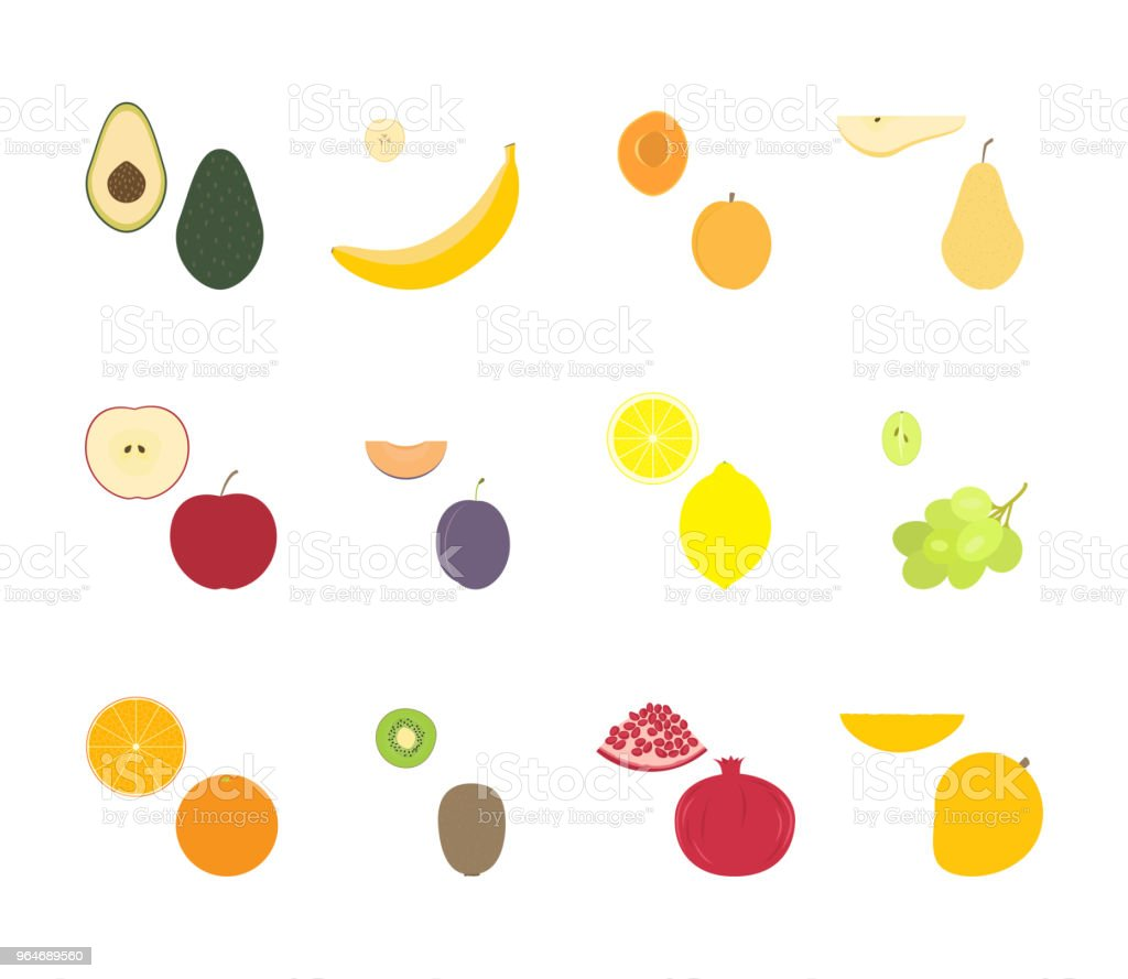 Fruit set vector royalty-free fruit set vector stock vector art & more images of apple - fruit