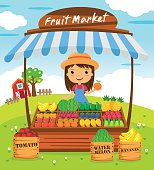 Fruit shop stall. farmers market, cartoon characters vector illustration
