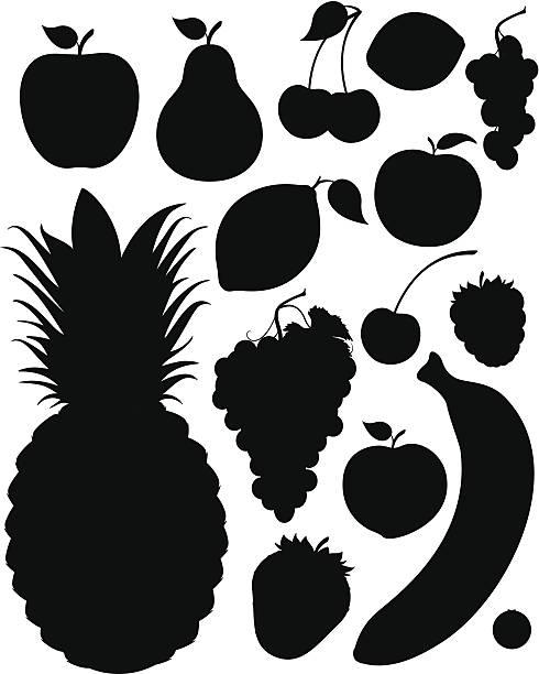 Fruit Silhouettes http://www.zmina.com/Food.jpg fruit silhouettes stock illustrations
