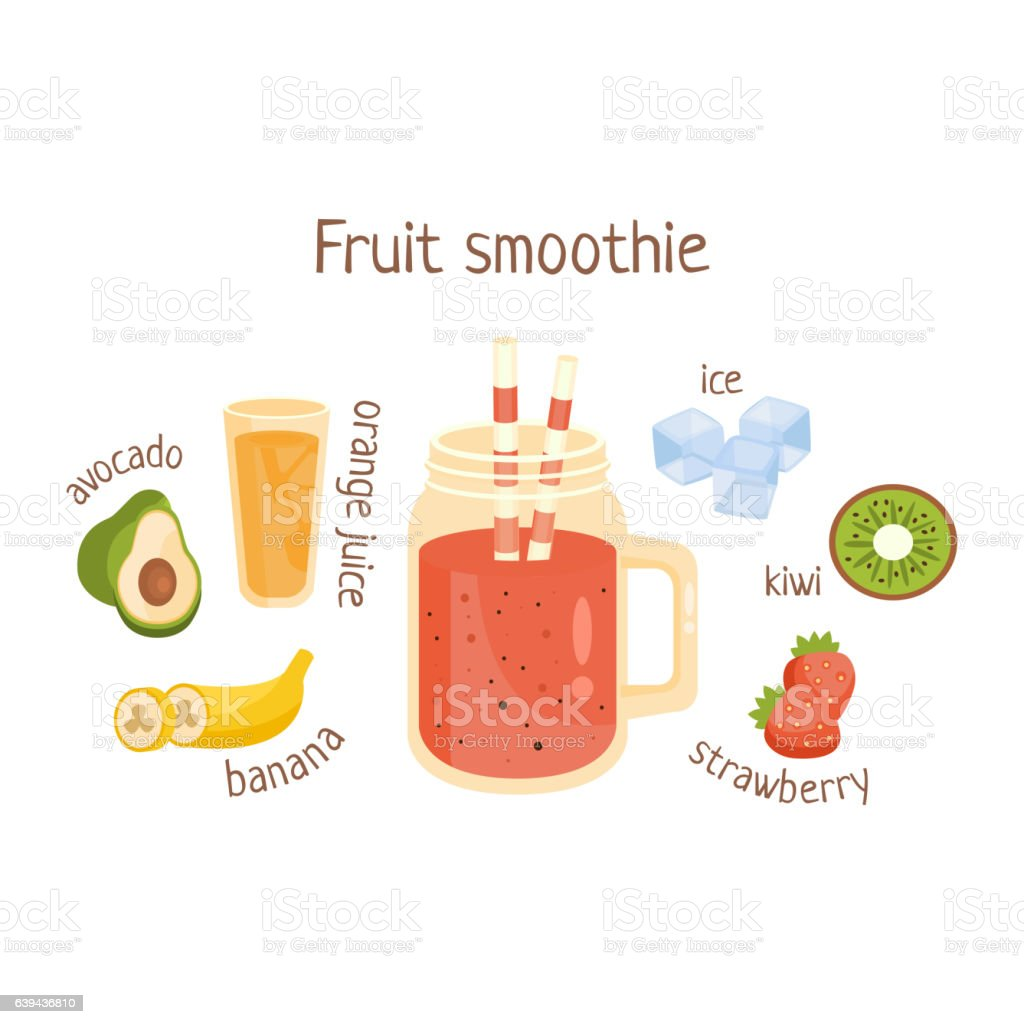 Fruit Smoothie Infographic Recipe With Needed Ingredients vector art illustration
