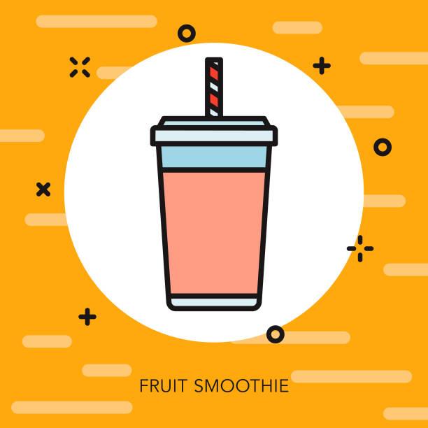 Fruit Smoothie Thin Line Breakfast Icon vector art illustration