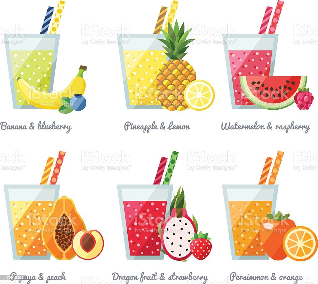 Fruit smoothie (juice) vector concept. Healthy drink. vector art illustration