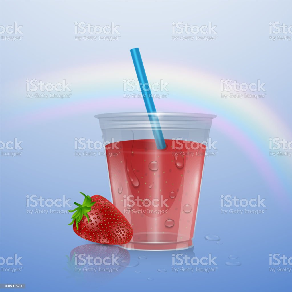 Fruit Smoothies Mockup Smoothie Cup Isolated On Transparent Background 3d  Illustration Realistic Plastic Cup With Strawberry Smoothie Vector