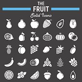 Fruit solid icon set, food symbols collection, vegetarian vector sketches,  illustrations, glyph pictograms package isolated on black background, eps 10.