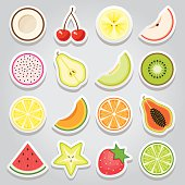An icon set of cute and simple fruit stickers. Gradients used in the background of the illustration.