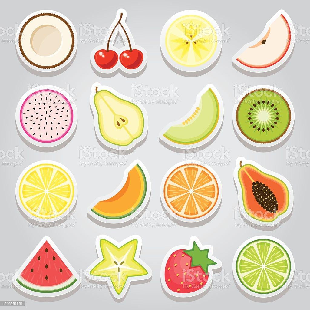 Fruit Sticker Icon Set vector art illustration