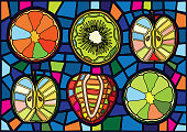 Is a mosaic glass that is used to decorate a picture of a window door