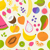 istock Fruit summer pattern. Cute tropical seamless fabric print with fruits. 1323685204