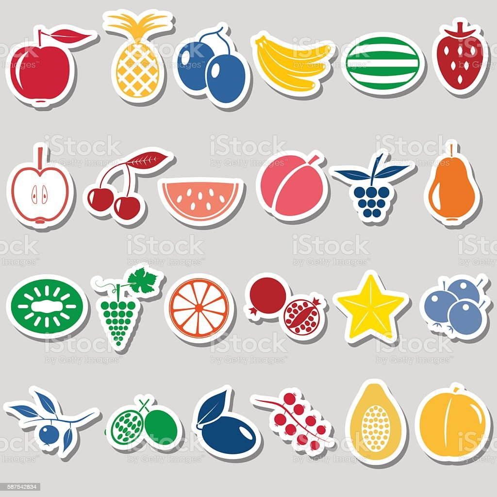 fruit theme color simple stickers icons set eps10 アイコンセットの