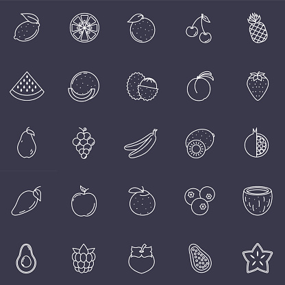 Fruit Thin Line Icon Set