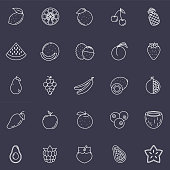 A thin line icon set in a fruit theme.