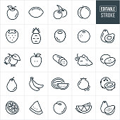 A set of fruit icons that include editable strokes or outlines using the EPS vector file. The icons include an apple, lemon, lime, cherries, peach, strawberry, pineapple, raspberry, blackberry, blueberries, orange, avocado, cucumber, grapes, cantaloupe, pear, bananas, watermelon, pomegranate, coconut and papaya.
