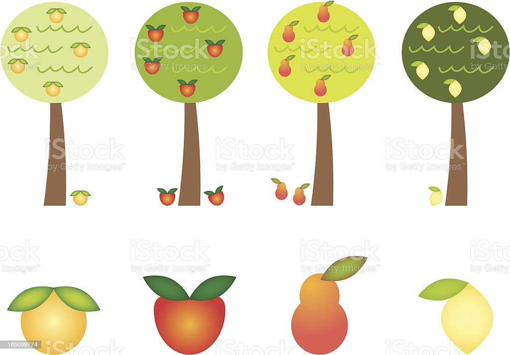 Fruit Tree Icons vector art illustration